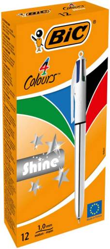 "Stylo bille 4 couleurs ""Shine"" pointe moyenne - Corps Argent"