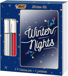 "Winter Kit: 2x stylo bille 4 couleurs ""Shine"" + 1x notebook"