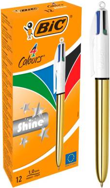 "Stylo bille 4 couleurs ""Shine"" pointe moyenne - Gold"