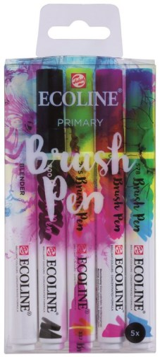 "Brush Pen ""Ecoline"" peinture à l'eau, set de 4 couleurs + blender - Primary"