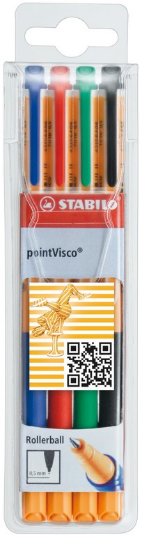 "Gelroller ""pointVisco"" medium 0.5mm, set van 4 stuks - Assortie (Blister)"