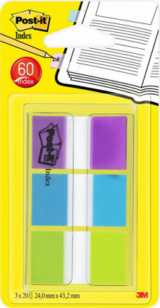 "Index ""Standard"" 20 tabs per kleur, 3 kleuren per set - 24x43.2mm (Blister)"