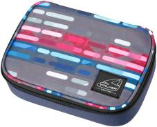 "Pennendoos ""Big Box Classic"" 22.5x16x6cm, 600D Polyester - Lines Blue Pink"