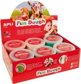 "Boetseerpasta ""Fun Dough"" in display: 12 doosjes van 40g - Assorti kleuren"