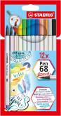 "Penseelstift ""Pen 68 Brush"" set van 12 stuks - Assortie (Blister)"
