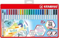 "Penseelstift ""Pen 68 Brush"" set van 25 stuks - Assortie (Blister)"