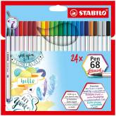 "Penseelstift ""Pen 68 Brush"" set van 24 stuks - Assortie (Blister)"